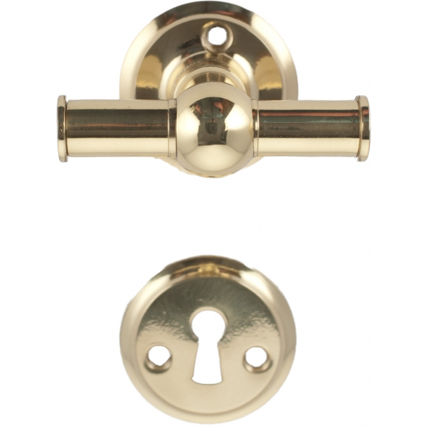 Door handle interior cross handles in brass with lacquer (200040)
