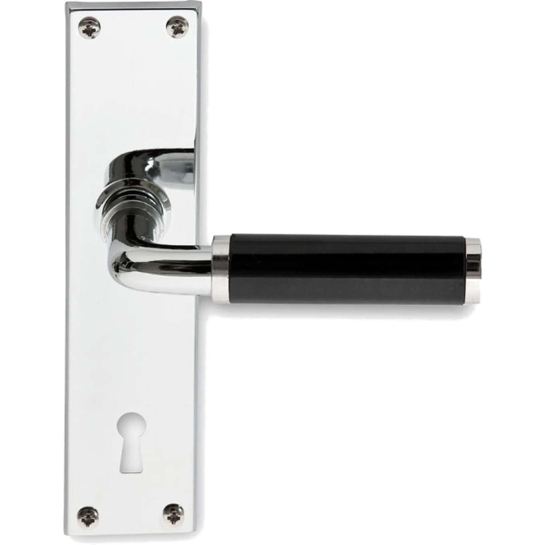 Door handle interior FUNKIS door back plate, Chrome and black Bakelite - Funkis Door Handles ...