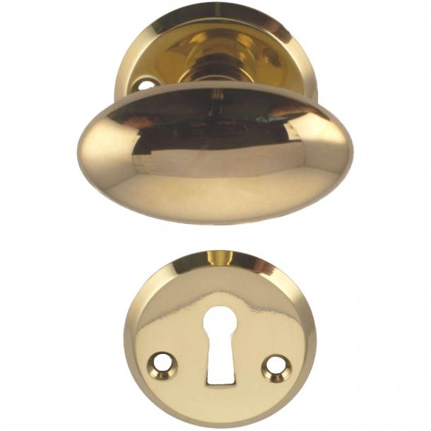 Door handle brass - almond-shaped rosette and escutcheon