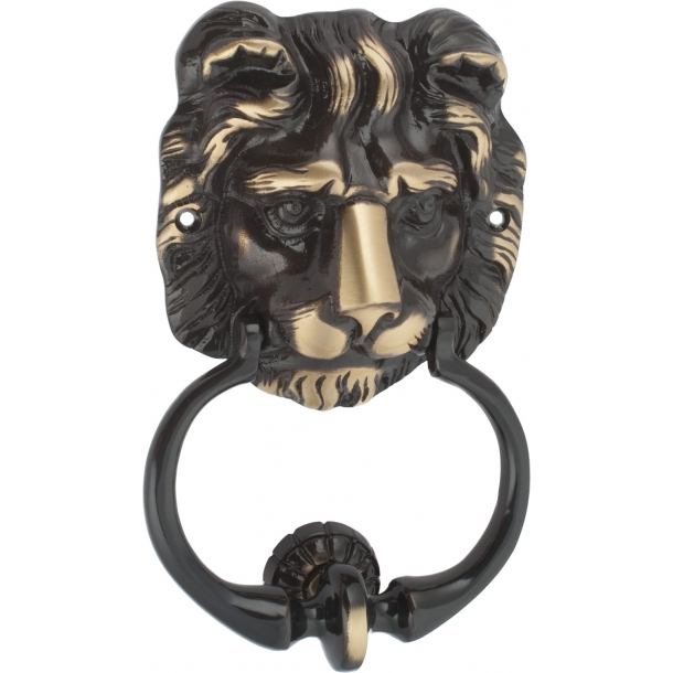 Door knocker lion head, Antique Brass with lacquer (200370)