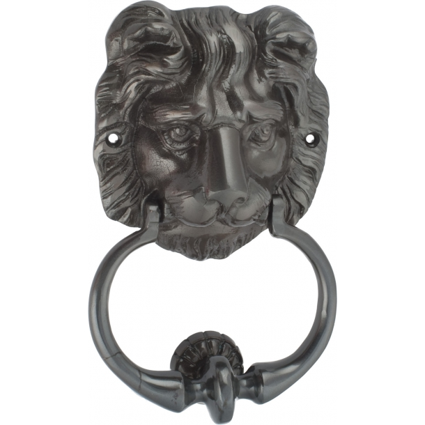 Door knocker lion head, Oxidized black with varnish, glossy (200372)
