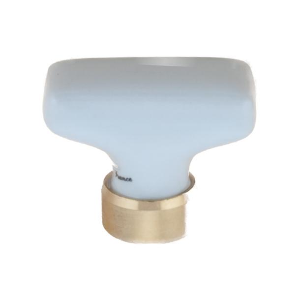Möbelknopf Rechteck Porzellan - Messing - Weiß 34x18 mm