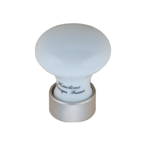 Furniture Button 125 - Porcelain Nickel satin 25 mm
