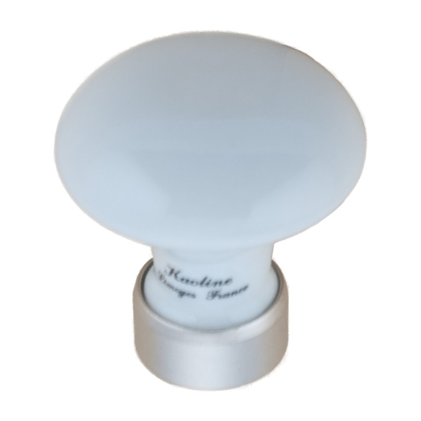 Möbelknopf 130 - Porzellan Nickel Satin 30 mm (201933)
