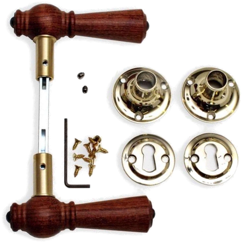 Wooden Door Handle Interior Brass And Rosewood 205201