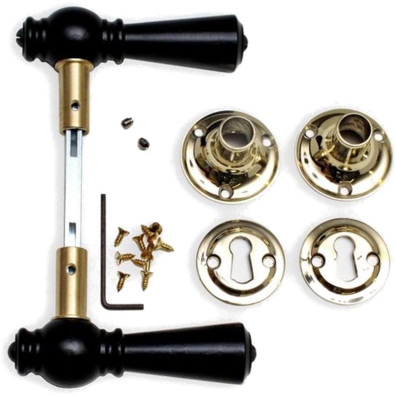 Wooden door handle interior brass and black wood 205203 for Door handle company