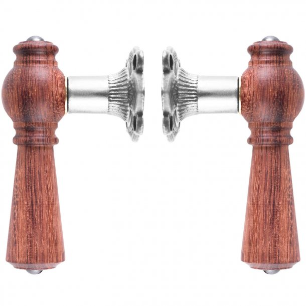 Wooden door handle interior - ¯STERBRO - Nickel plated brass & rosewood tree