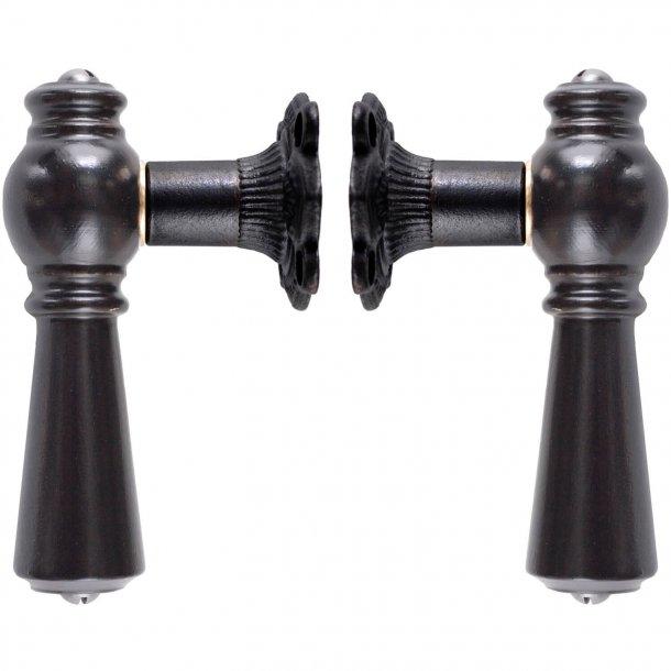 Wooden Door handle interior - Black brass and black wood (905203)