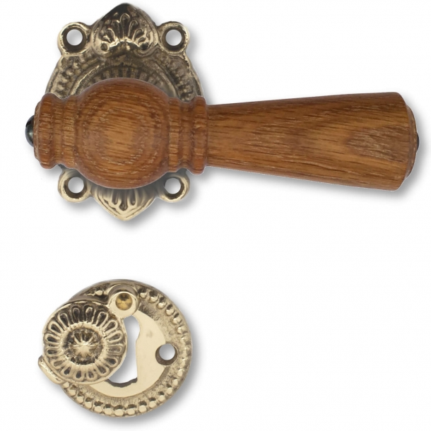 Wooden Door handle interior - Rustic style brass Oak (21040015)