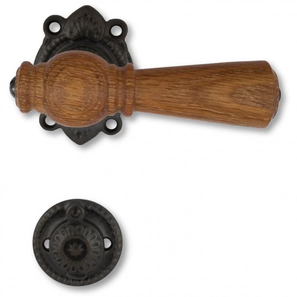 Wooden Door handle interior - Oak / Antique black brass (670E205291)