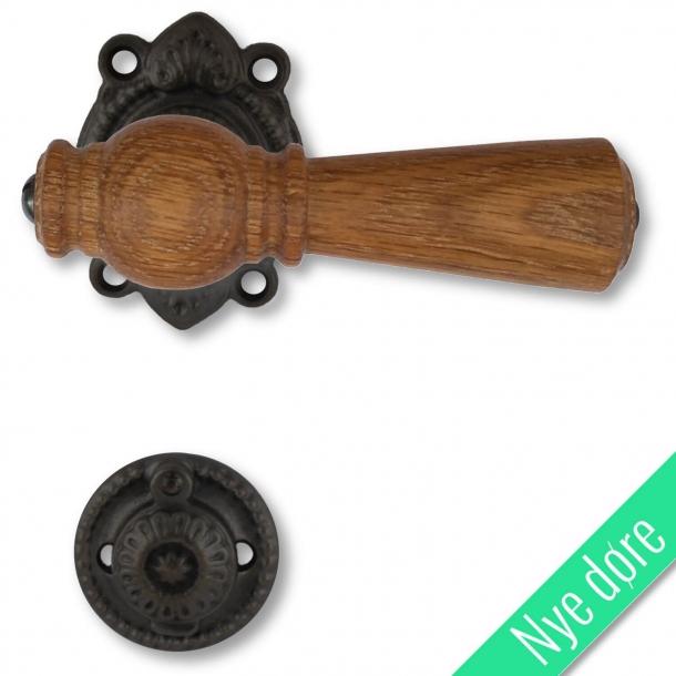 Træ dørgreb, indendørs - Egetræ, sort jern, Antik (670E205291A)