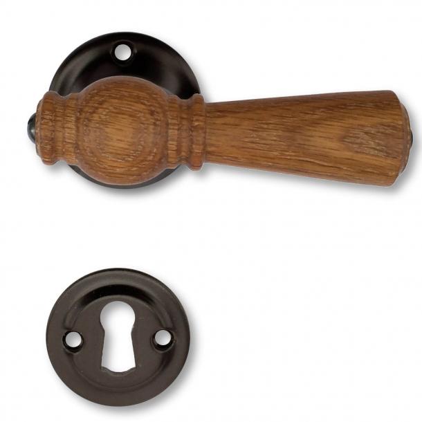Wooden Door handle interior - Glossy black, Oak (21040019)