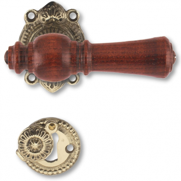 Wooden Door handle interior - Antique Brass and Rosewood wood (205207)