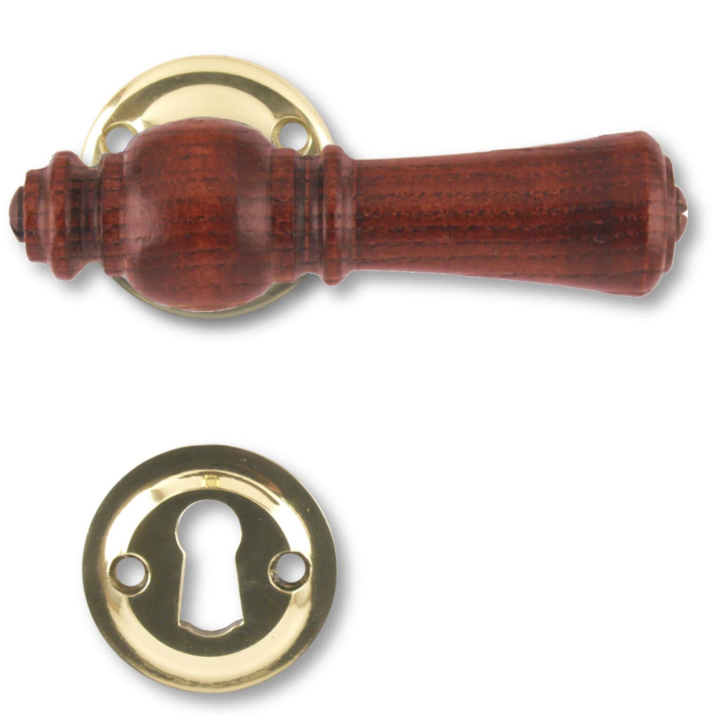 Wooden door handle interior brass and rosewood 205201 for Door handle company