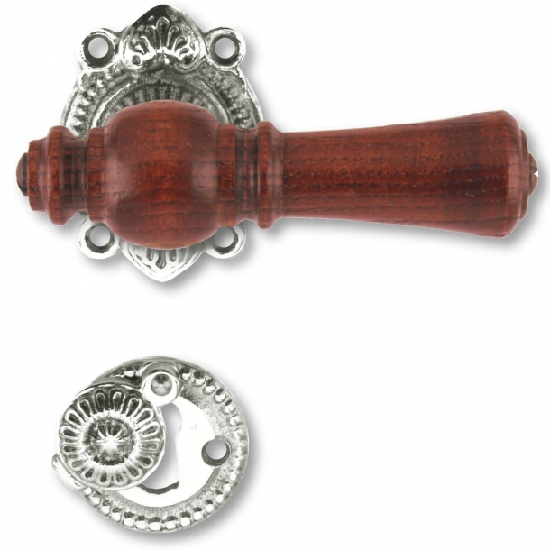 Wooden Door handle interior - Nickel plated brass and rosewood tree (905,201)