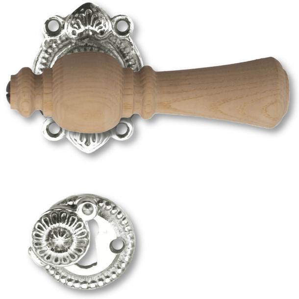 Klamka do drzwi - Rustykalny, niklowany mosiądz i palisandrowe drzewo - OESTERBRO1075