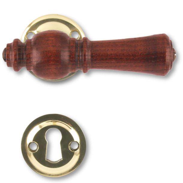 Wooden Door handle interior - Brass and rosewood (205201)