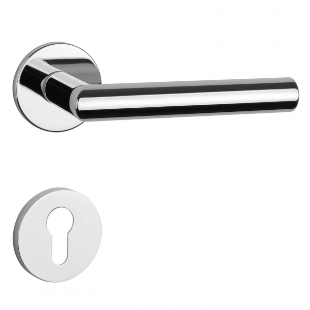 Aprile Door handle with euro profile cylinder ring - Polished chrome - Model Arabis