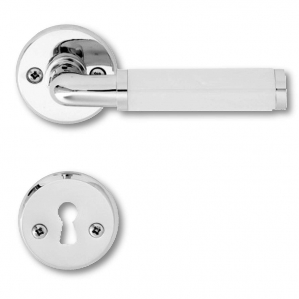 Door handle FUNKIS - Chrome plated and white wood
