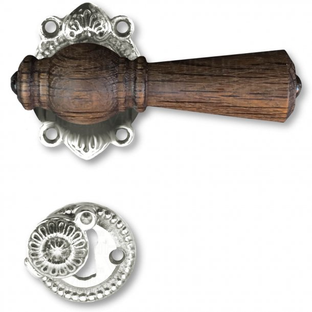 Door handle, Interior, Smoked Oak / Antique Nickel