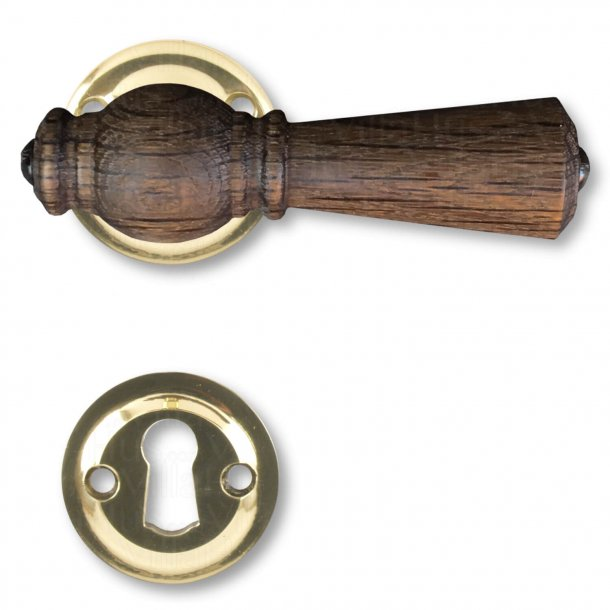 Door handle, Interior, Smoked Oak / Brass