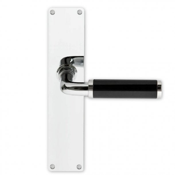 Door handle interior Funkis door back plate, Chrome and black Bakelite, 235 x 54 mm