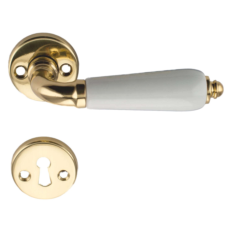Door handle interior raphael brass porcelain 204010 for Door handle company