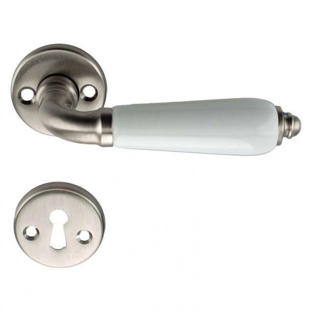 Dørhåndtag indendørs - Mat nikkel og Porcelænsgreb - Model Raphael Blanc