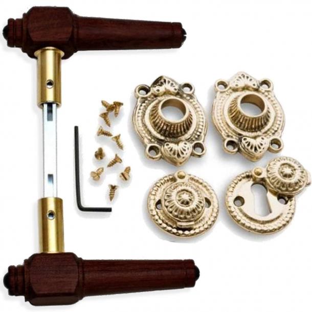 Wooden Door handle interior - Antique Brass and rosewood (205241)