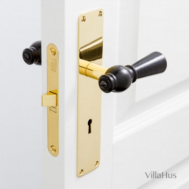 Black wooden door handle - Brass - Backplate with keyhole - 220 x 45 mm
