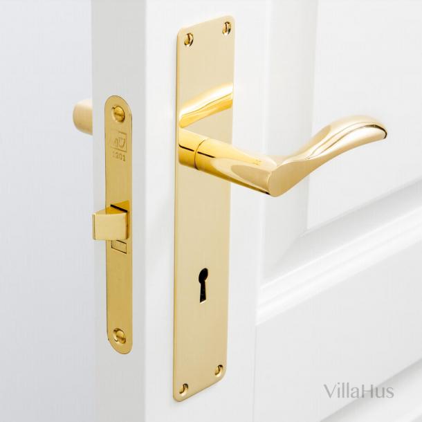 Klamka na płycie tylnej z dziurką od klucza - 220 x 45 mm - Mosiądz bez lakieru - Model BELLEVUE