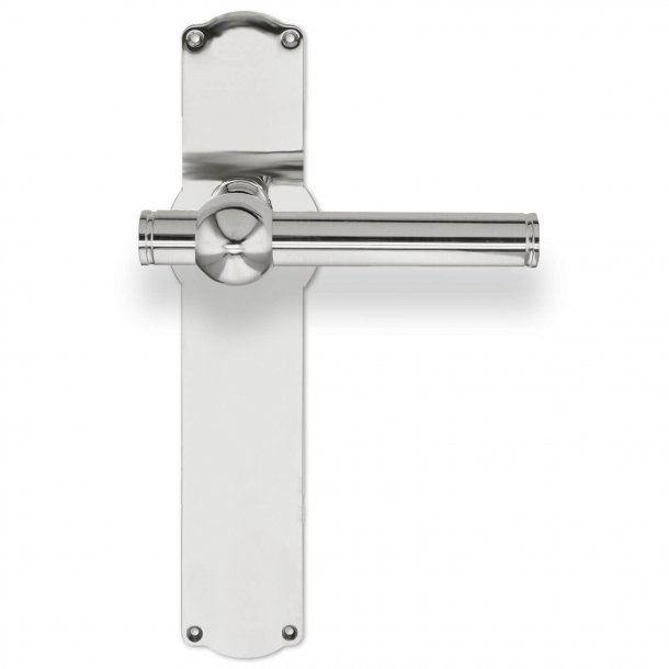 Door handle on backplate - Nickel Plated - SKODSBORG 18 mm