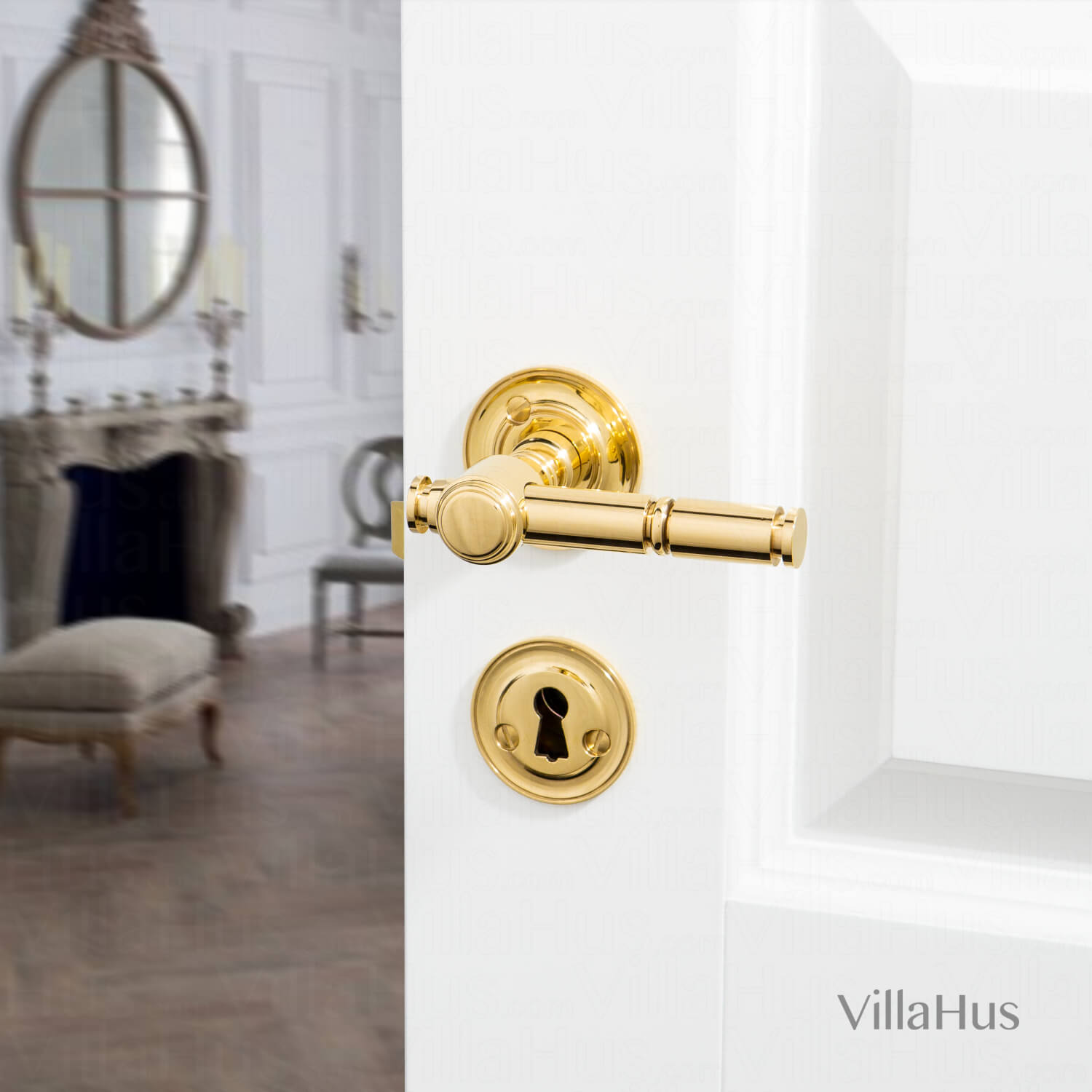 Door Handle Brass Without Lacquer Rosette And Rosette Model