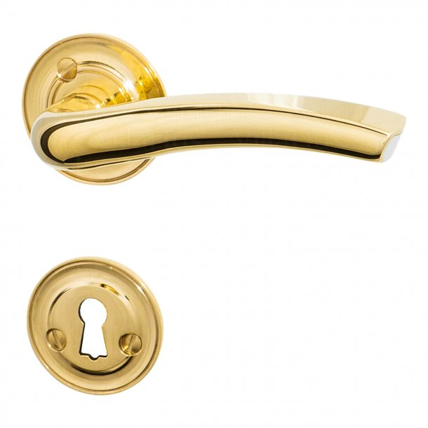 Door handle - Interior - Brass with visible aluminium core - LINUX - Ornamented