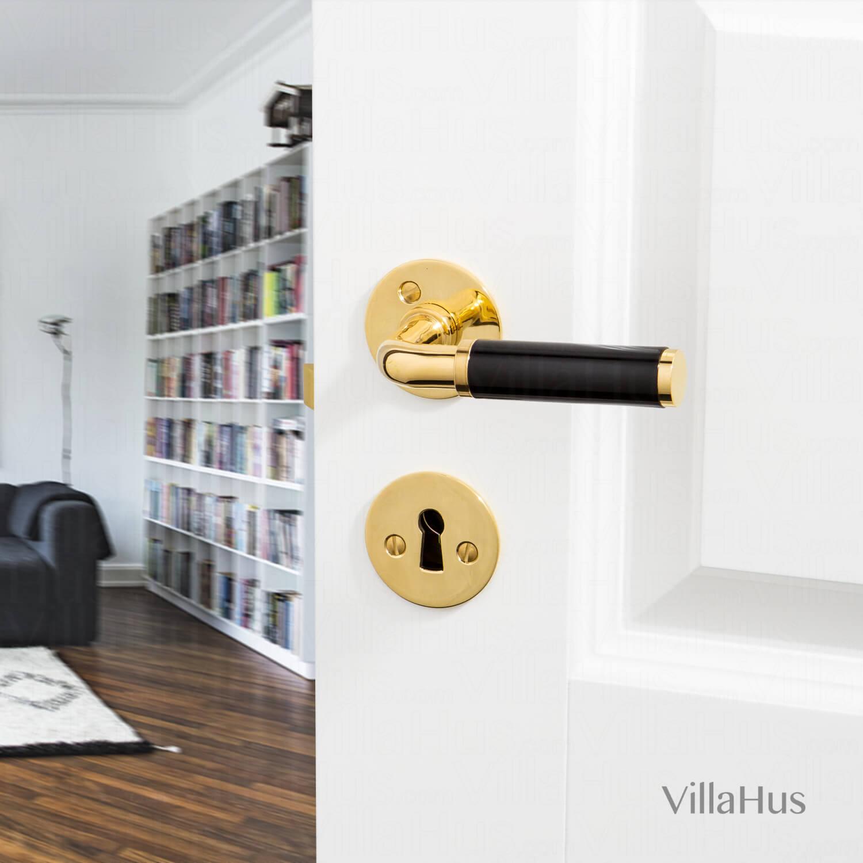 FUNKIS door handle interior - Brass and black Bakelite - Funkis Door Handles - VillaHus.co.uk