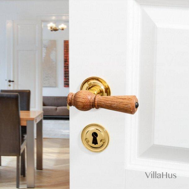 Interior wooden door handle - Brass & Oak - Rose / Smooth Neck