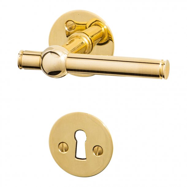 Door handle brass without lacquer - SKODSBORG 14 mm