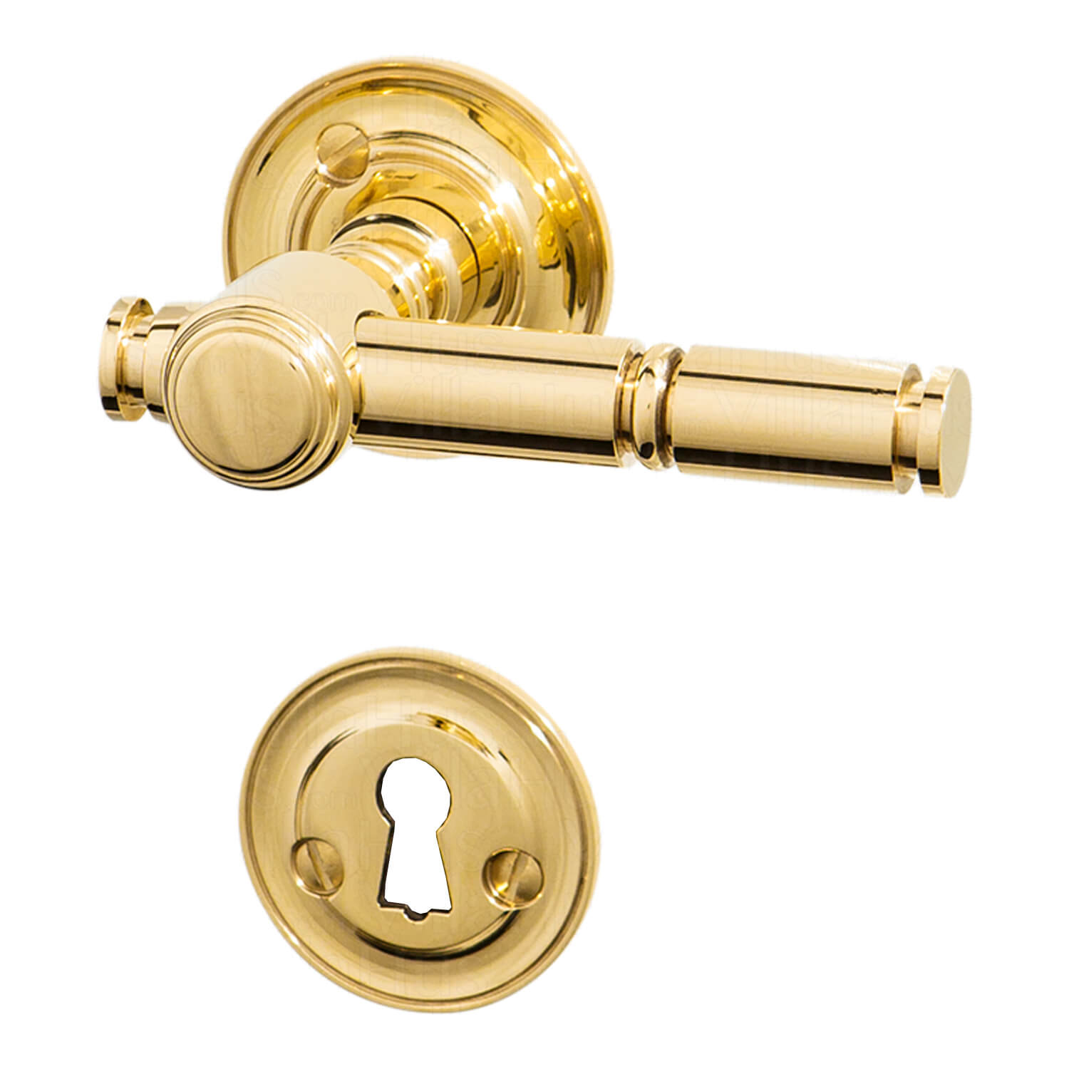 Door Handle Brass Without Lacquer Rosette And Rosette