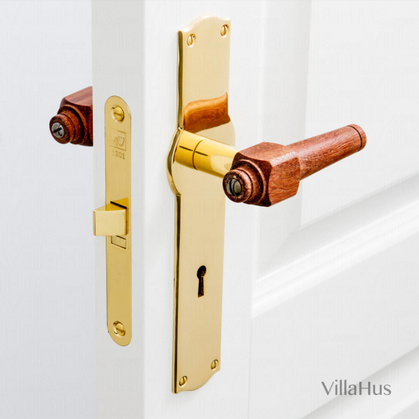 Rosewood wooden door handle - Brass back plate with keyhole - SVANEMØLLEN