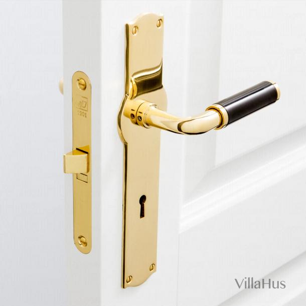 Funkis inomhusdörrhandtag - Amalienborg med nyckelhål - Mässing och svart Bakelit - Modell 383
