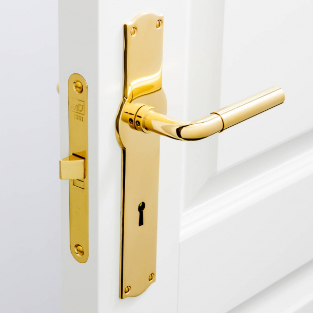 Funkis door handle indoors - Amalienborg backplate - Brass without lacquer - 16mm