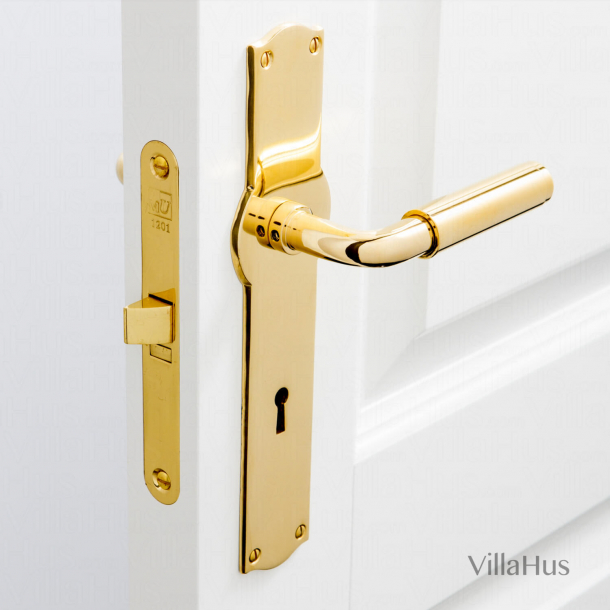 Funkis door handle indoors - Amalienborg backplate - Brass without lacquer - 20mm