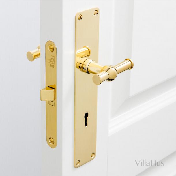 Klamki do drzwi - Mosiądz nielakierowany - Szyld długi z dziurką na klucz - Model RUNGSTED