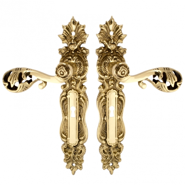 Door handles Interior - Backplate with keyhole cc72mm - Brass - Model L472