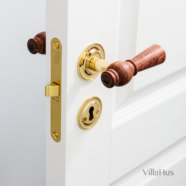 Interior wooden door handle - Brass & Rosewood - Rose / Smooth Neck