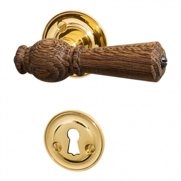 Wooden door handle Interiors - Brass & Smoked Oak - Rose / Smooth neck