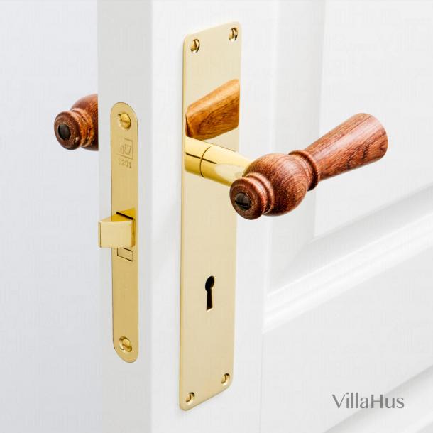 Dörrhandtag - Rosewood - Mässing åtskilda av nyckelhål - 220 x 45 mm