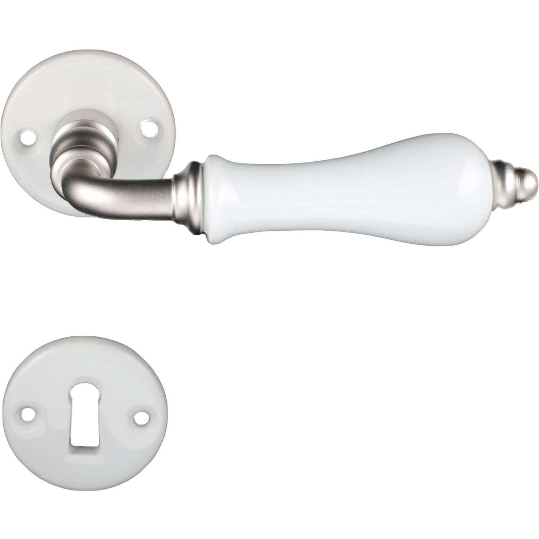 Door handle interior porcelain and matte nickel for Door handle company