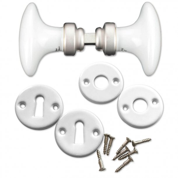 Door handle - Wooden oval Door handle porcelain including escutcheon in porcelain
