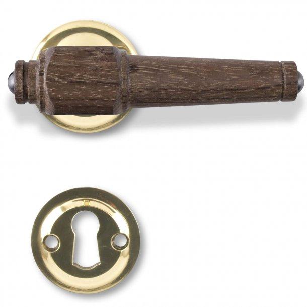 Træ dørgreb - Røget eg og glat messing - Model SVANEMØLLEN